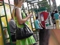 Bright green summer costume upskirt