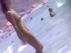Nudity beach voyeur video of hot two brunettes by the sea