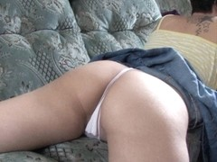 Mighty ass exposed in an upskirt down blouse video