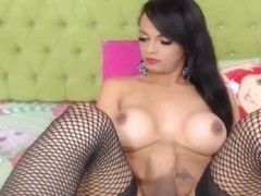 Lovely Tranny Jerking her Big Cock