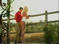 Blonde Tgirl Outside Wrecking