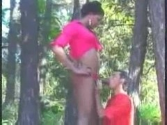 Interracial guy and shemale sex outdoor