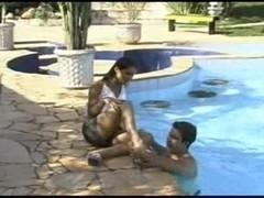 Outdoor hot sex poolside