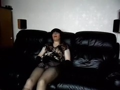 Obese plump lady-boy cougar in pantyhose masturbating