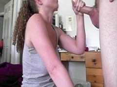 Busty lady is on her knees