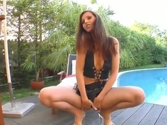 Brunette gets pussy drilled outside