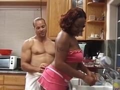 Outstanding Ebony Natural tits porno scene. Bon Appetit