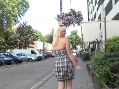 Blonde babe Axa Jays exhibitinist adventures and outdoor flashing