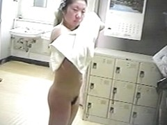 Asian mature with adorable tits and bush on voyeur cam