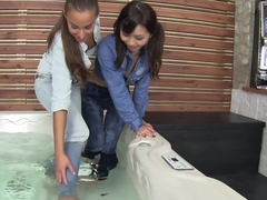 Horny pornstars Amirah Adara and Marica Hase in exotic anal, threesome porn scene
