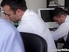 Muscled officehunks oral fun outdoors