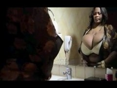Black bitch with huge tits gets a facial after teasing