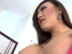 Asian Tgirl Venus Lux in ass to mouth sex with a blonde hottie