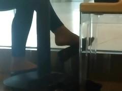Candid Shoeplay Dangling Feet in Coffee Shop