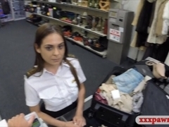 Hot Latina stewardess fucked at the pawnshop for extra cash