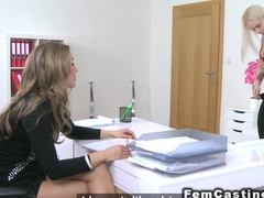 Blonde fucks inflatable toy in casting