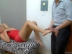 Sexy shemale has her feet licked by her horny lover