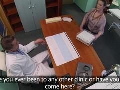 Gushing secretary fucked on doctors desk
