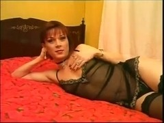 Anal deep penetration for TS lady in black stockings