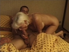 Captivating old blonde French babe seduces younger guy