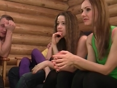 Aruna & Izi & Sabrina & Stephany in nude students having fun in a nasty orgy