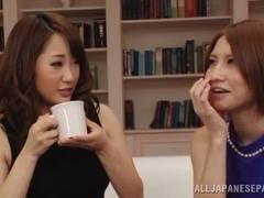 Frisky Asian chicks Misa Kudou and Risa Mizuki tease hot guy