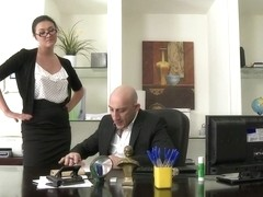 Secretary Take Down Boss and Friends Tie her up and Fill her Pussy w Cum