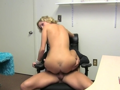 Kinky girl wants it now, at work. Facial cumshot