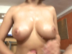 Adorable Vanessa Leon demonstrates her wonderful body and oral skills