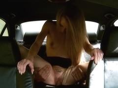 Carmel in Truck Stop Delight: Tiny bodied slut fucked in police car - FakeCop