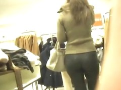 sexy ass in leggings at the department store