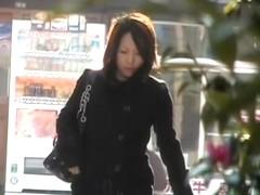 Elegant Japanese lady's panties showing after skirt sharking