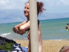 Babe caught topless in Agia Marina, Creta.