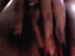 Wife Natasha caressing fingers his little pussy