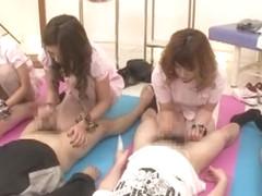 Hottest Japanese chick Maki Takei, Juria Tachibana, Jun Mamiya in Crazy Handjobs JAV scene