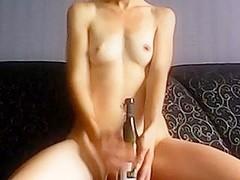 brunette and her bottle