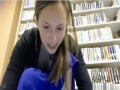 Crazy girl goes naked in a public library