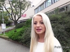 Blonde student fucking in public pov