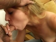 Favourable boy receives a fellatio from a golden-haired chick