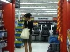 Skinny upskirt voyeur teen brunette chick