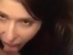My girlfriend is sucking my swollen dick in the toilet room