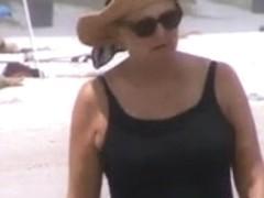 great mature jiggly tits beach stroll 37