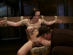 Big titted 21yr old in her first ever hardcore bondage shoot Once helpless we abuse those tits.