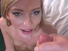 That innocent blonde white girl takes a load on her mouth