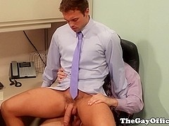 Rocco Reed gets bent over office table