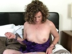 Sofia Matthews shows off her hairy bush and eats fruit