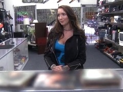 Busty amateur brunette babe pawns her twat and banged
