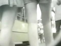 Panty free  bunny caught on a hidden upskirt cam