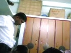 Indian girl blows her bf's dick and lets him play with her tits, while he fucks her doggystyle.