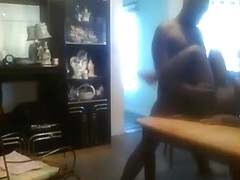 Black girl couple makes a sextape on the dining table